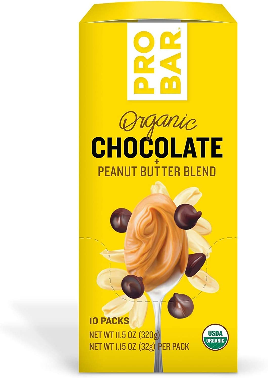 PROBAR - Nut Butters, Chocolate Peanut Butter, Non-GMO, Gluten-Free, USDA Certified Organic, Healthy, Plant-Based Whole Food Ingredients, Natural Energy (10 Count)
