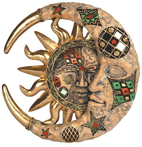 StealStreet SS-G-63069 Tan Cracked Mosaic Crescent Moon and Sun Wall Plaque Decoration (Sun Moon Decor)
