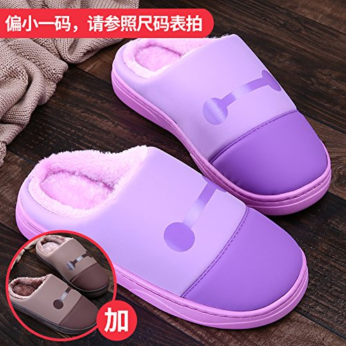 LaxBa Femmes Hommes chauds dhiver Chaussons peluche antiglisse intérieur Cotton-Padded Chaussures Slipper  + brun pourpre40/41  + 44/45