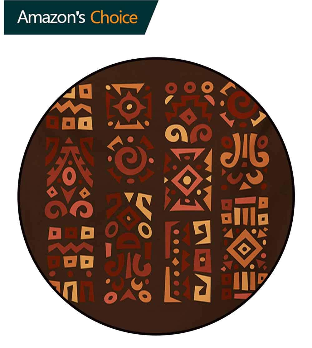 RUGSMAT Earth Tones Super Soft Circle Rugs for Girls,Doodle Style Graphic African Figures in Four Vertical Borders Ethnic Accents Baby Room Decor Round Carpets,Diameter-71 Inch Multicolor