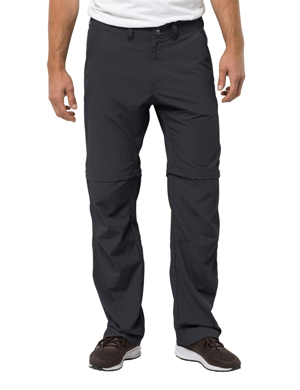 Jack Wolfskin Pantalones con cremallera Canyon para hombre Pantalones de viaje de nylon para hombre Protección UV, Phantom, 52 (U Small 36/32)