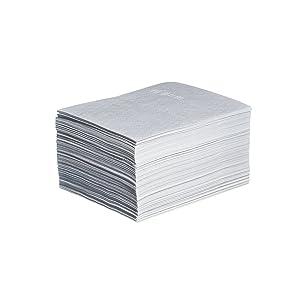 "New Pig Stat-Mat Absorbent Pad, Dissipate Static, 14 oz Absorbency Per Pad, Absorbs Fuels & Oil-Based Liquids, Repels Water, Lightweight, (200) 20"" x 15"" Anti-Static Mat Pads, White, MAT215"
