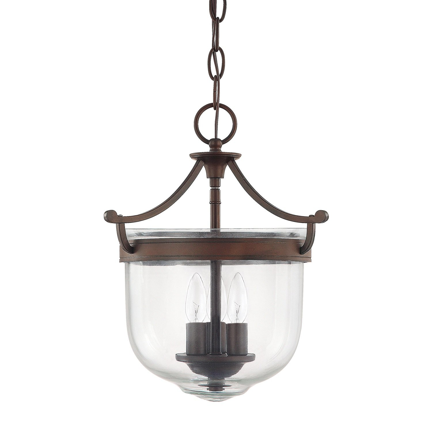 "Capital Lighting 9411BB Covington 3-Light Foyer Fixture With Clear Glass, 11"" x 11"" x 13.5"", Burnished Bronze Finish"