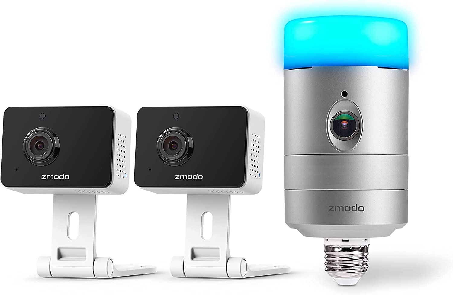 Zmodo Security Camera Indoor and Outdoor for Home Security, Motion Alerts, Wide Angle, Two-Way Audio, Works with Alexa, Torch Smart Home Garden Doorlight Wireless Camera& Two Indoor Mini Pro Camera