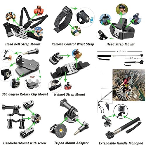 SmilePowo Sports Action Camera Accessory Kit for GoPro Hero6,5 Black,HERO (2018),Hero 5,4,3,Hero Session,GoPro Fusion,DBPOWER,AKASO,APEMAN,SJ CAM,Head Strap Camera Mount,Chest Mount Harness