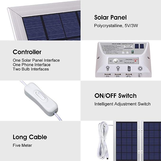 YINGHAO - Sistema de luz solar para móvil (6 W, plegable, 3,7 V, batería de litio de 6 W, panel solar, kit de sistema para el hogar, incluye cargador para ...