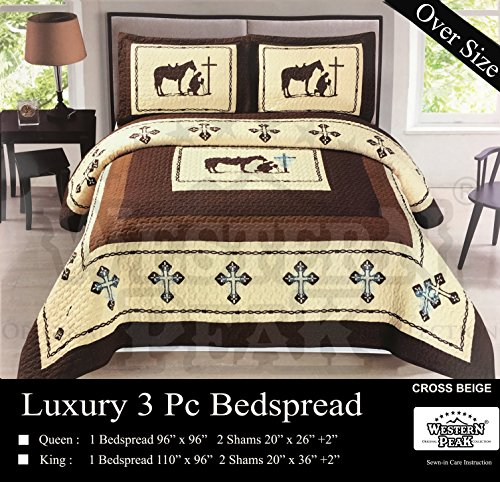 Western Peak 3 Pc Luxury Western Texas Cross Praying Cowboy Horse Cabin Lodge Barbed Wire Luxury Quilt Bedspread Oversize Comforter with Cross Bling Rhinestones (Queen, Beige)