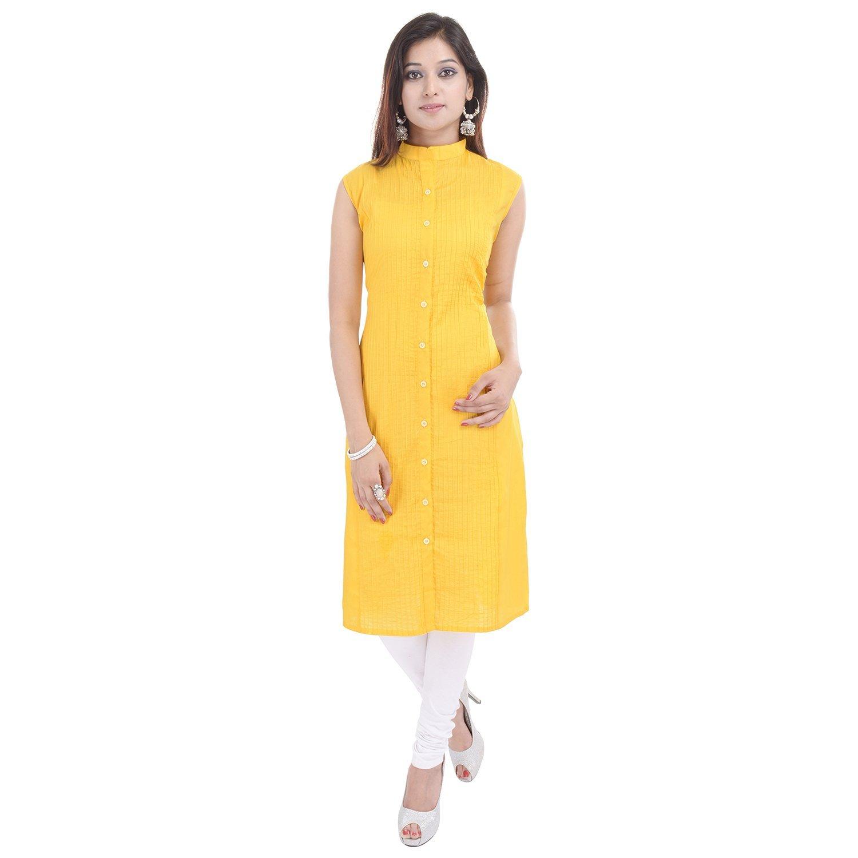 Chichi Indian Women Kurta Kurti Sleeve Less XX-Large Size Plain Straight Yellow Top by CHI (Image #2)