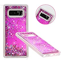Galaxy Note 8 Case, Asstar Luxury Fashion Bling Flowing Liquid Floating Sparkle Glitter TPU Bumper Impact Resistant Shockproof Full Body Protective Cover for Samsung Galaxy Note 8 (Rose)