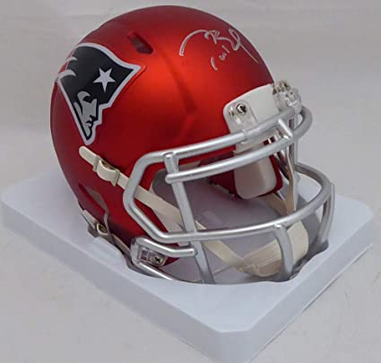 4f3b9d95e Image Unavailable. Image not available for. Color  Tom Brady Autographed  New England Patriots Red Blaze Speed Mini Helmet TRISTAR Authentic