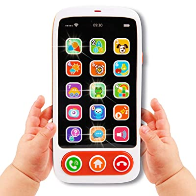 Elf Lab Baby Cell Phone Toy, Kids Play Phone with Big Touch Screen Lights Music Educational Toy for 6 8 10 12 18 Months Baby and Aged 1+ Kids: Toys & Games