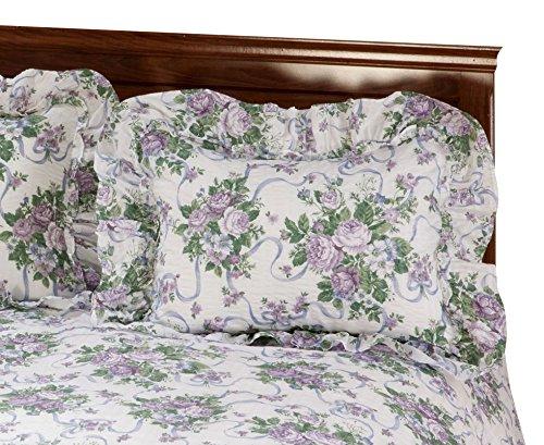 Miles Kimball Lavender Ribbons & Roses Floral Plisse Pillow Shams
