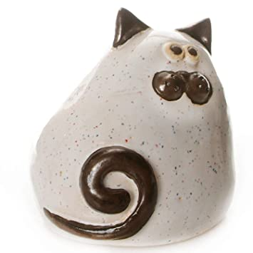 Enigma Supplies Fat and Chubby - Adorno de gato de cerámica para regalar a los amantes de los gatos (color blanco): Amazon.es: Hogar