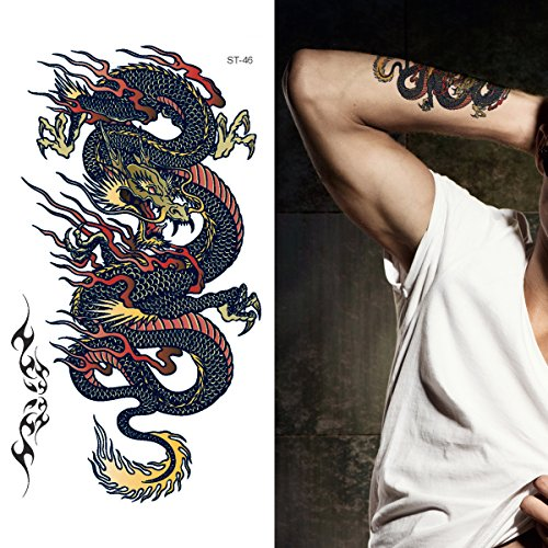 Supperb Temporary Tattoos - Blue Dragon on Fire Ii