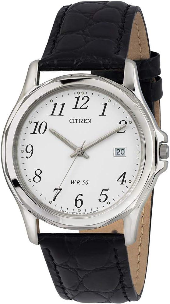 Citizen Reloj para Hombre, Modelo BI0740-02A. Reloj de Acero Inoxidable, Correa de Color Negro y Dial en Color Blanco. Reloj Analógico para Hombre. WR 50 MT.