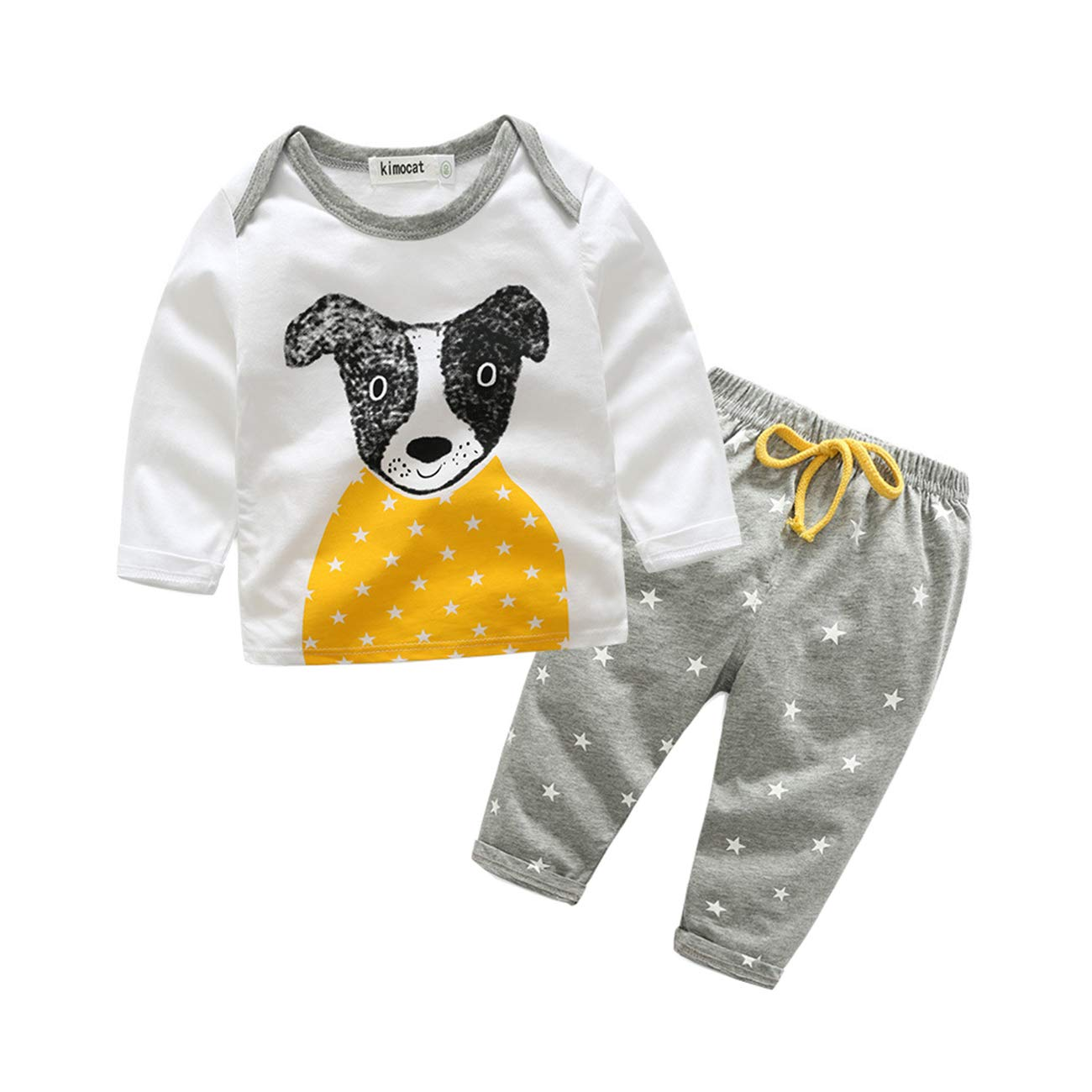 FCQNY Kids Boys Long Sleeve Casual Cotton Cartoon Tops T-Shirt+Pants Set 2pcs