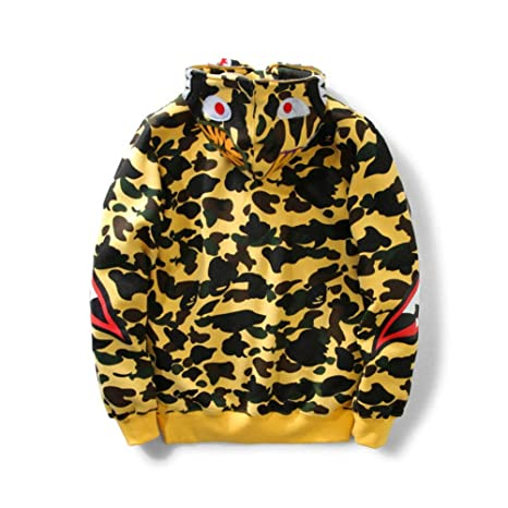 JW54store Bape Camouflage Teeth Plus Velvet Sweater Couple Models Hooded Jacket For Men/Women: Amazon.es: Ropa y accesorios