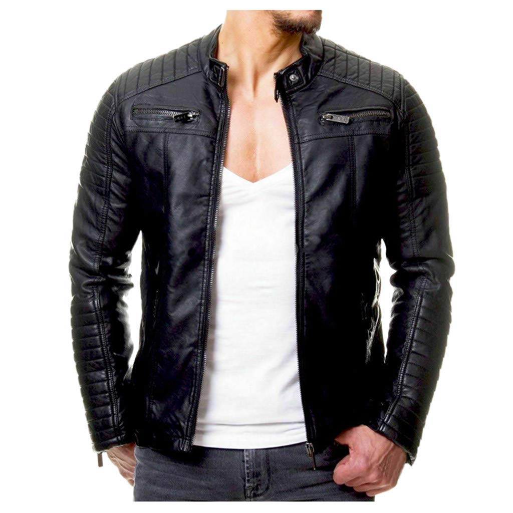Willow S 2019 Autumn and Winter Men's Solid Color Leather Jacket Casual Zip Pocket Jacket Black by Willow S