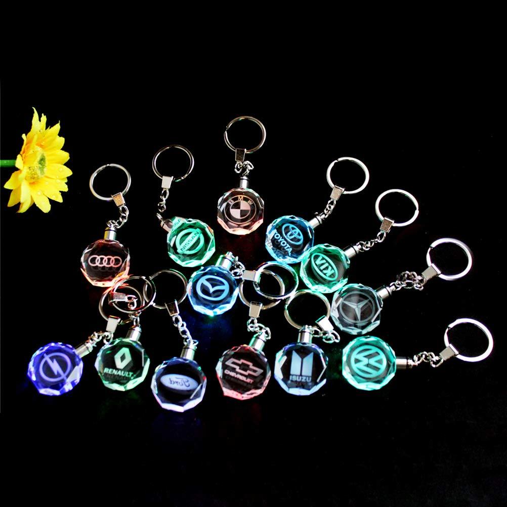 portachiavi per auto Portachiavi creativo a LED con logo automatico luce di cristallo emblema personalizzato