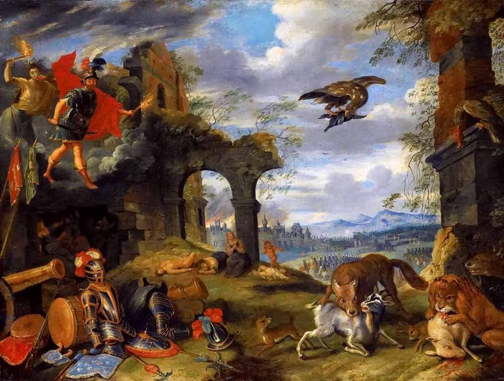 Allegorisch Gem/älde Gedruckt Wandkunst JH Lacrocon Jan Brueghel der J/üngere Allegorie Der Tulipomanie 1640S Leinwandbilder Reproduktionen Gerollte 120X75 cm