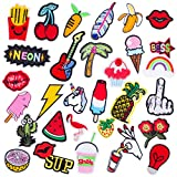 Iron on Patches Embroidery Applique Assorted Size 30 Pieces Decoration Kit DIY Sew on Patch for Jeans, Clothing, Shoes, Caps (patch1)