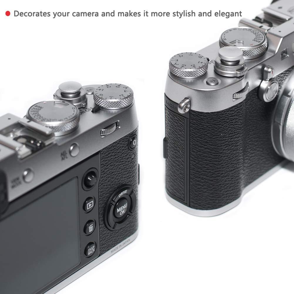 VKO Silver Soft Metal Shutter Release Button Compatible for Fujifilm X-T30 X-T3 X100F X-T20 X-PRO2 X30 X100T X100S X-E2S X-T10 X-T2 M6 M7 M8 M9 M10 M9-P Camera 11mm Concave 10mm Convex Surface 2 Pack