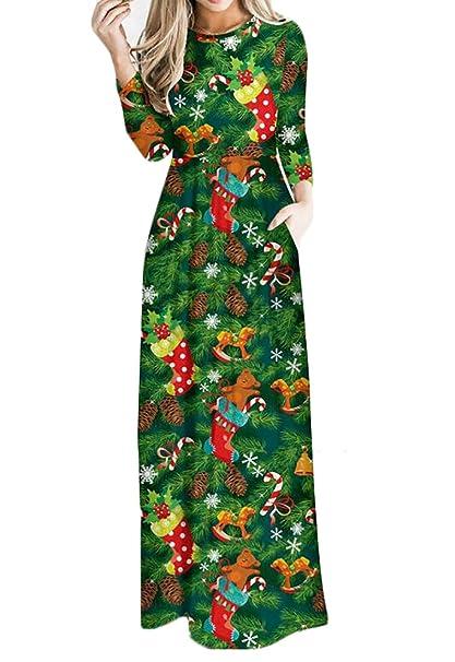 Oberora Womens Long Sleeves Christmas Patterns Evening Dress Plus