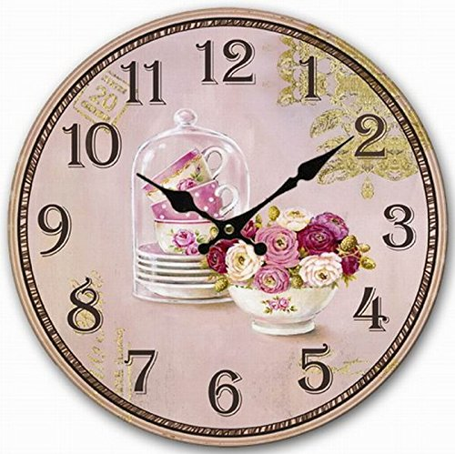 (Telisha Wooden Wall Clock Purple Rose Flower Cup Vase Clock Retro Vintage Large Clock Home Decorative Country Non -Ticking Silent Quiet 14 Inch Gift)