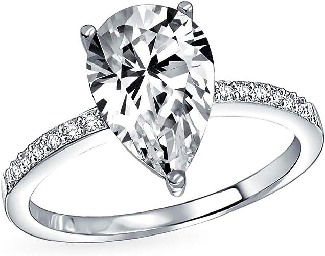 925 Silver Ladies 2 piece Wedding Engagement Teardrop//Pear Cut Halo Ring Set