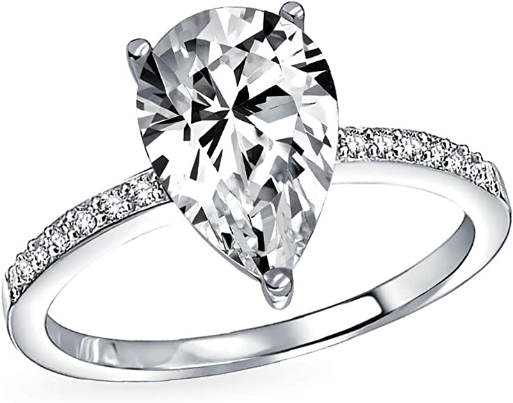 Uniss Stainless Steel Pear Cut Solitaire Cz Engagement Cubic Zirconia Ring Size 8 Rings