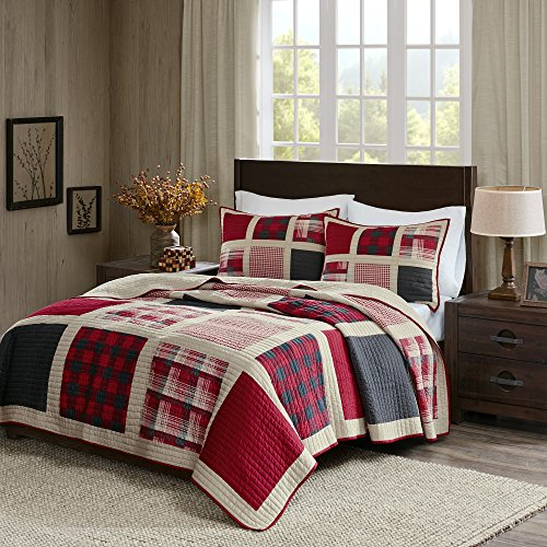 HUNTINGTON King / Cal King QUILT SET : RED BUFFALO CHECK PLA