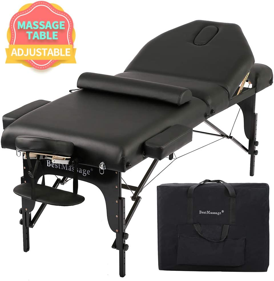 Massage Table Massage Bed Spa Bed Height Adjustable Massage Bed 77 Inches Long 30 Inches Wide Salon Bed 4 Inches Thick Density Memory Sponge Foam 3 Folding Portable Massage Table W Carry Case Bolster
