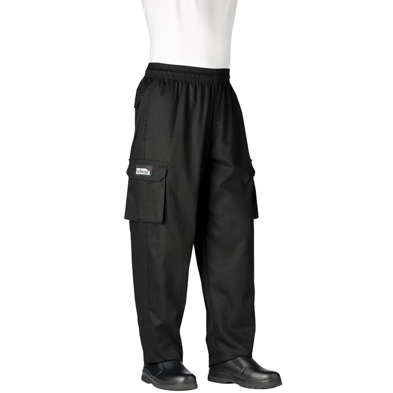 Chefwear Men's Unisex Cargo Cotton Chef Pant, Black, Medium