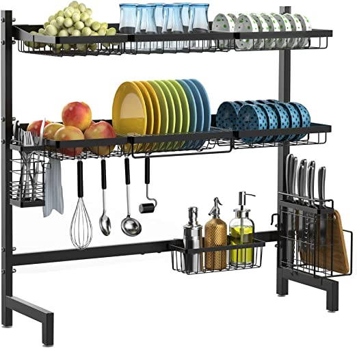 Amazon Com Over The Sink Dish Drying Rack Ispecle 2 Tier Large