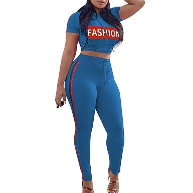 efa41eb2100 Survêtement Ensemble Rayé pour Femme Mode    Fashion   Imprimer Manches  Courtes Crop Tops