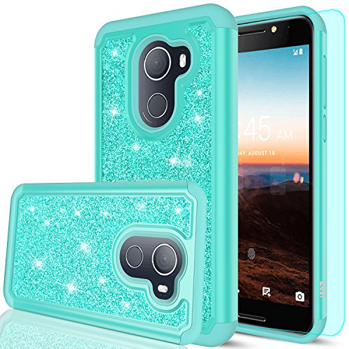 T-Mobile REVVL Case (Not Fit REVVL Plus),Alcatel Walters / A30 Plus Case with HD Screen Protector,LeYi Girls Women Heavy Duty Protective Phone Case for Alcatel A30 Fierce 2017 (5.5) TP Mint