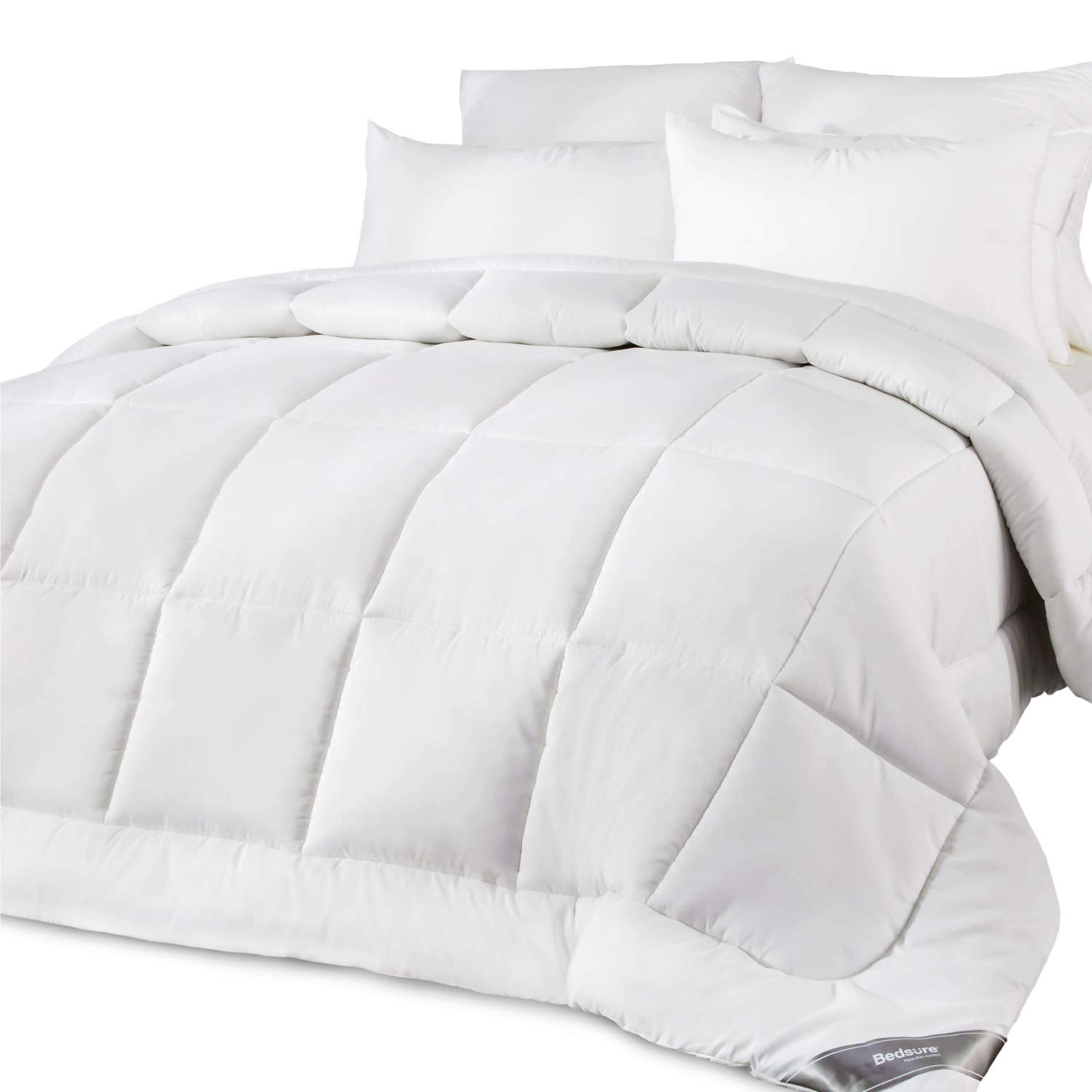 Bedsure King Comforter (102'' x 90'') All-Season Lightweight Down Alternative Quilted 300GSM Bed Comforters - Box-Stitching Construction - White Duvet Insert with Corner Tabs - Machine Washable