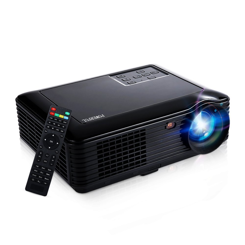 HD Video Projector,Joyhero 4000 Lumens HDMI Max 200'' Big Screen LCD LED Projector For Home Back Yard Movie, Party, Games, Office Business Presentation -Black