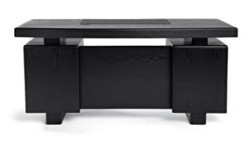 Beau Monroe Black Wood Modern Desk With Leather Pad And Storage