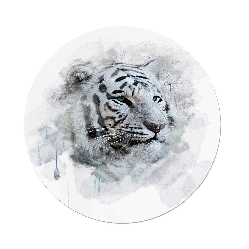 iPrint Polyester Round Tablecloth,Animal,Artistic Portrait a White Tiger Wild Nature Predator Watercolor Splashes Decorative,Black Grey White,Dining Room Kitchen Picnic Table Cloth Cover Outdoor Indo