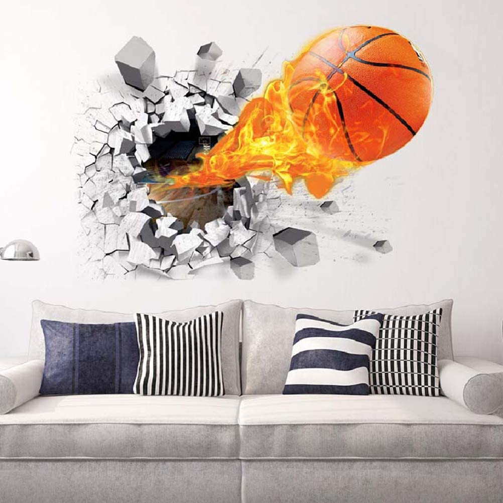 3D Cracked Ice Fire Crazy Basketball Stickers Teen Bedroom Nursery Kids Wall Decal for Boys Bedroom Living Room Wall Decor Decals