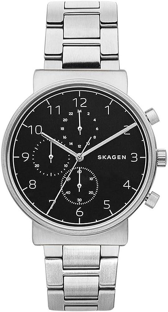 Skagen Men s SKW6360 Ancher Silver Link Chronograph Watch