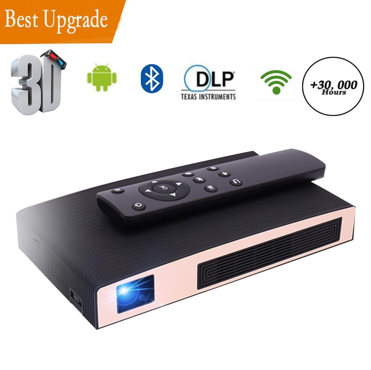 Mini Projector, MOTOU Portable Video LED Projector HD Supports 3D / HDMI / Bluetooth / USB / WIFI / TF card/iPhone /Android, Rechargeable Multimedia outdoor Pico Projector for Game /Office /Party/Out by MOTOU
