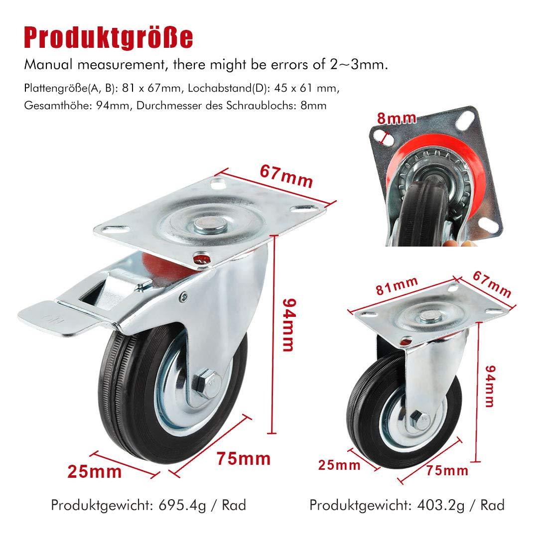 Forever Speed Lote de 4 Ruedas Pivotantes /Ø 75mm Ruedas Giratorias de Transporte Negro para Carritos Muebles Con 2 Freno /& 2 placa de montaje Soportan 50 kg por Rollo