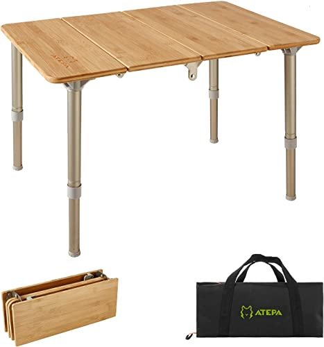 ATEPA Folding Bamboo Table 4-Fold Adjustable Height Aluminum Camping Table Portable Compact Lightweight Outdoor Picnic Table with Carrying Bag, 6.8lbs