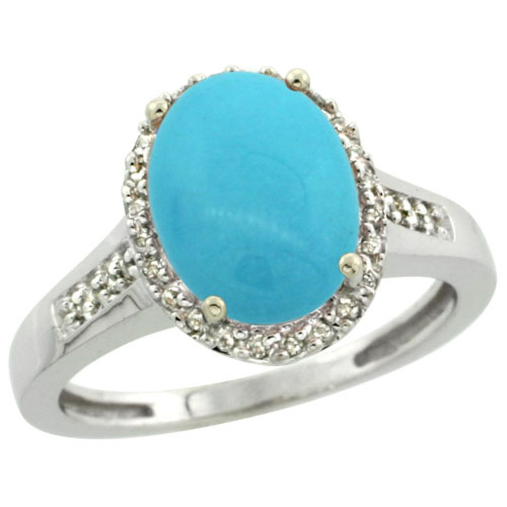 Sterling Silver Diamond Sleeping Beauty Turquoise Ring Oval 10x8mm, 1/2 inch wide, size 8