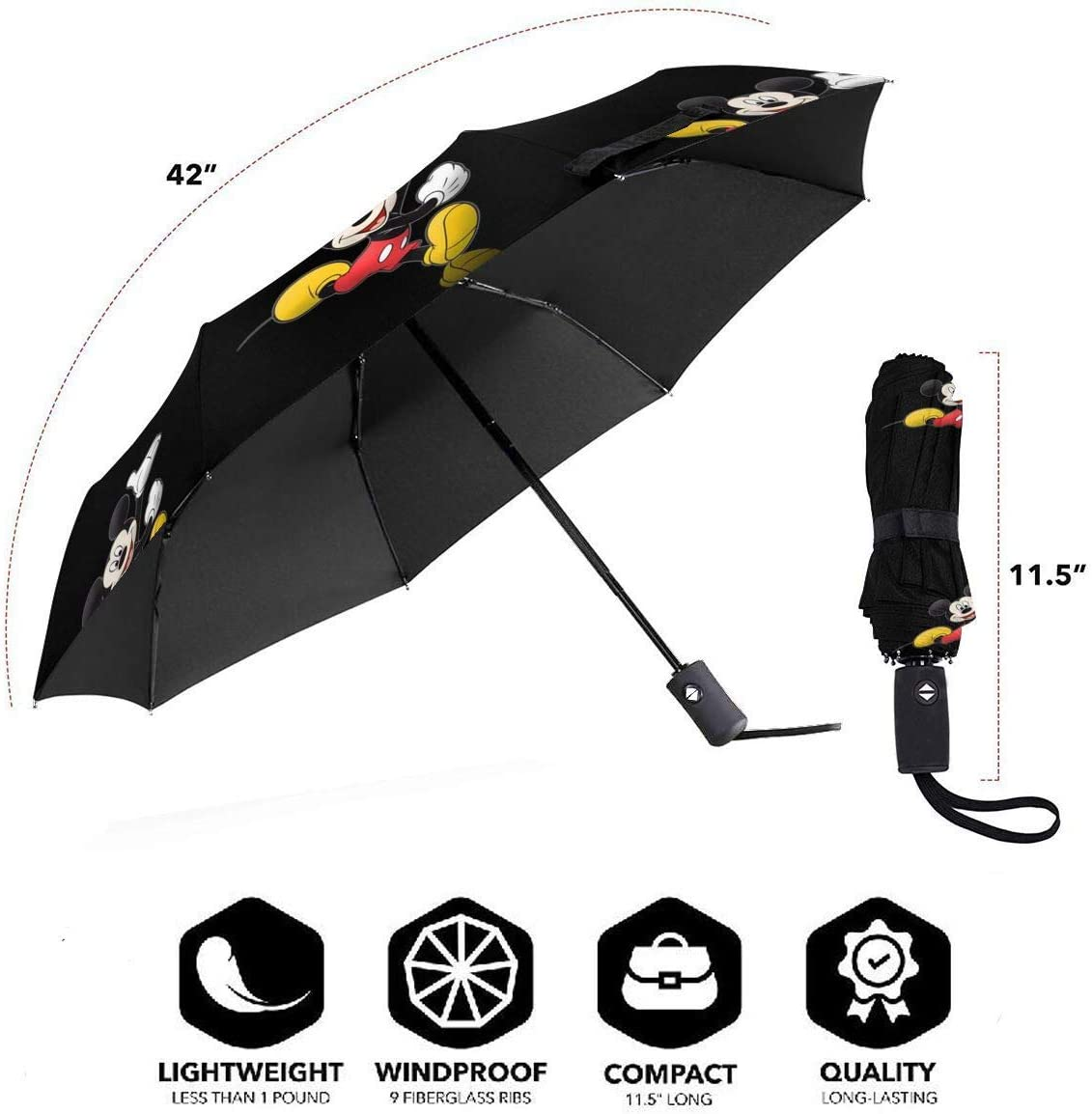 Windproof Travel Umbrella Minnie And Mickey Mouse Compact Folding Umbrella Automatic Open//Close