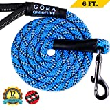 GOMA chew Resistant Dog Leash - - 100% Nylon with Increased Safety for Night Walking- 1/2 inch Thick Mountain Climbing Rope- Padded Handle - Industrial Grade Metallic Clasp