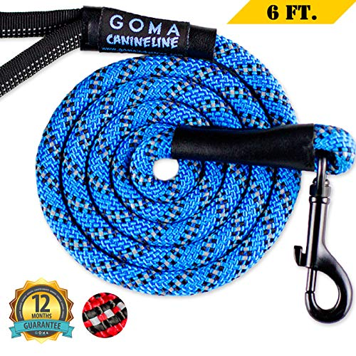 GOMA Dog Leash Chew Resistant 100% Nylon Reflective Lead for Night Walking - for Medium and Large Pup Breeds - Ergonomic No Burn Grip - Mountain Climbing Rope Made