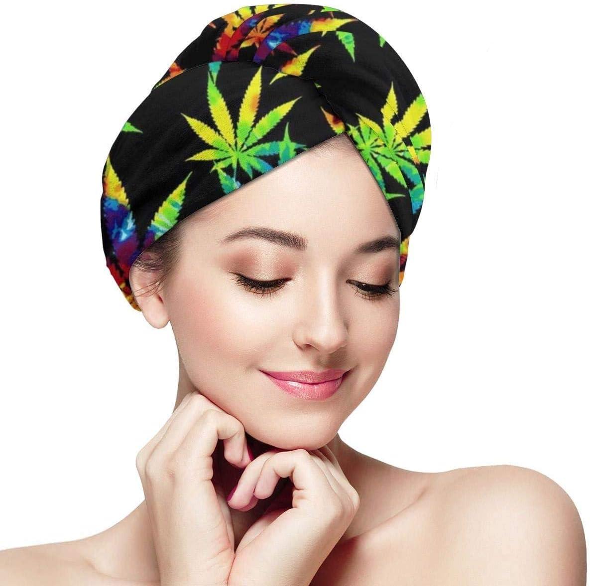 Tie Dye Cannabis Weed Leaves Toalla de Secado de Cabello para Mujeres Ultra Absorbente Secado Rápido Sombrero para el Cabello Turbante Anti Encrespamiento Turbante de Ducha